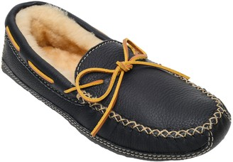 Minnetonka Men's Sheepskin-Lined Black Moose Slippers