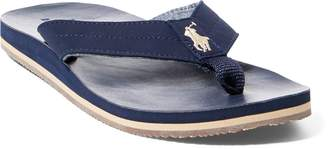 Ralph Lauren Faux-Leather Flip-Flop Sandal