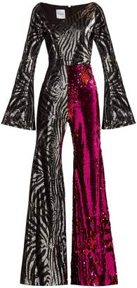HALPERN Zebra-pattern sequinned jumpsuit