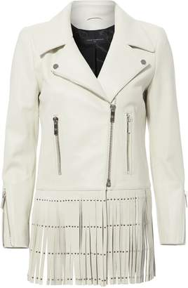 Nour Hammour Saint White Fringe Leather Jacket
