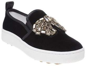 Coach New Womens Black C115 Crystal Bow Textile Shoes Loafers And Slip Ons