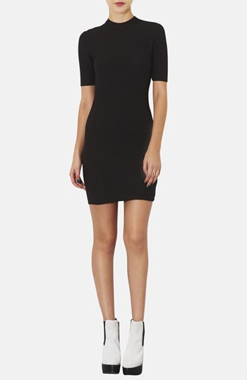 Topshop Cutout Textured Body-Con Dress