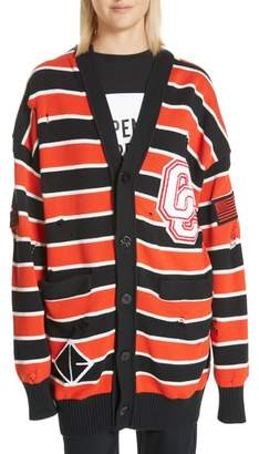 Opening Ceremony Long Varsity Stripe Cardigan