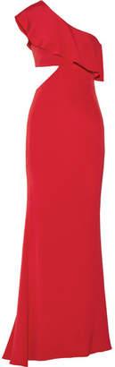 Cushnie et Ochs - Bea One-shoulder Cutout Silk Crepe De Chine Gown - Claret $1,995 thestylecure.com