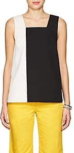 Lisa Perry WOMEN'S COLORBLOCKED COTTON TWILL SWING TOP - BLACK SIZE 6