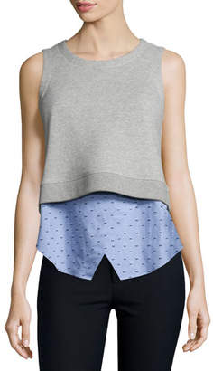 Derek Lam 10 Crosby Knit Sweatshirt Combo Tank, Blue/Gray