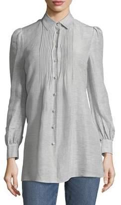 Co Button-Front Striped Silk-Linen Shirt