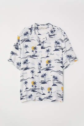 H&M Relaxed Fit Resort Shirt - White