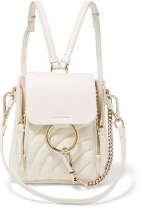 Chloé Faye Mini Quilted Leather Backpack - White