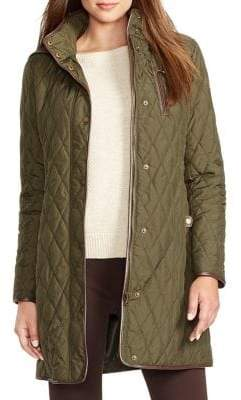 Lauren Ralph Lauren Faux-Leather Trim Quilted Jacket