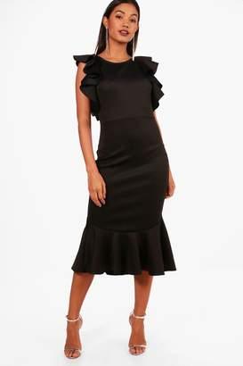 boohoo Open Shoulder Frill Detail Midi Dress