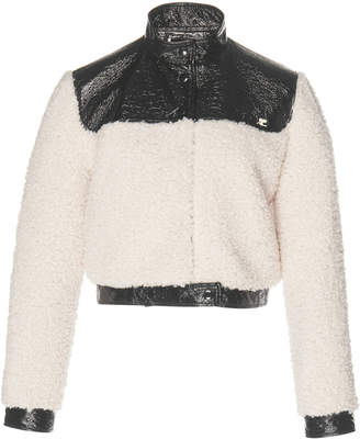 Courreges Cropped Vinyl And Faux Shearling Jacket