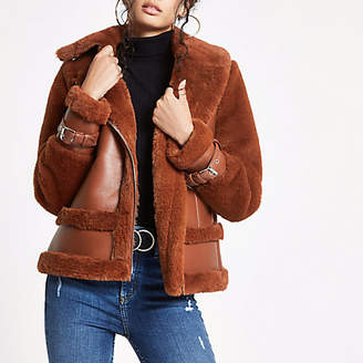 River Island Brown faux fur aviator jacket