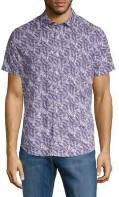 Slate & Stone Leaf-Print Short-Sleeve Button-Down Shirt