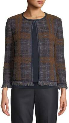 St. John Plaid Boucle Jacquard Knit Jacket