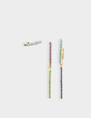 Joanna Laura Constantine Set Of Three Multi Hoop Earrings in Gold-Plated Brass with Blue Spinel and Turquoise Green Stones