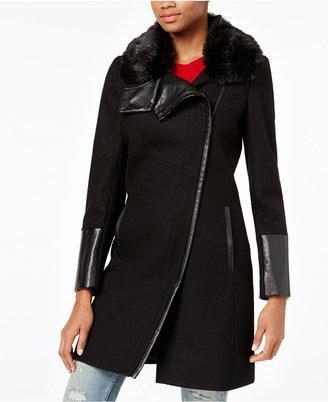 RACHEL Rachel Roy Mixed-Media Asymmetrical Walker Coat, Only at Macy's $275 thestylecure.com