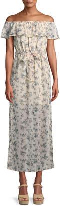 Glamorous Floral Ruffle Bardot Maxi Dress