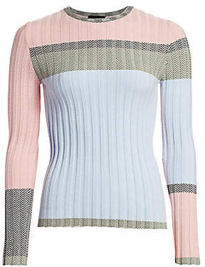 Emporio Armani Women's Colorblocked Chevron Jacquard Sweater