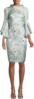 Badgley Mischka High-Neck Trumpet-Sleeve Brocade Sheath Dress
