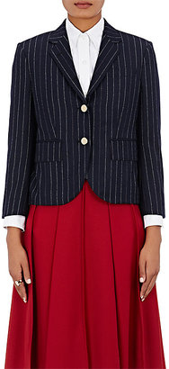 Thom Browne Women's Chalk-Striped Wool Twill Little Boy Jacket $2,500 thestylecure.com