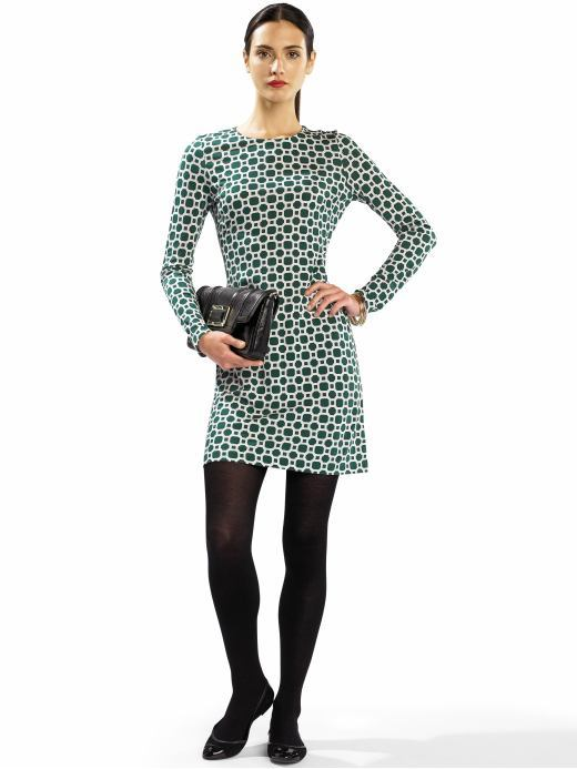 Long-sleeve graphic print dress
