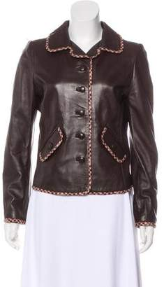 Oscar de la Renta Structured Leather Jacket