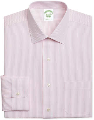 Brooks Brothers Men Milano Extra-Slim Fit Non-Iron Pink Stripe Dress Shirt