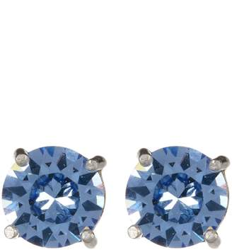 Candela Sterling Silver 8mm Light Blue Crystal Accented Stud Earrings