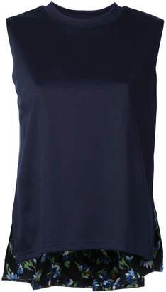 CLANE sleeveless floral hem top
