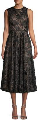 Carmen Marc Valvo Sleeveless Lace Midi Dress