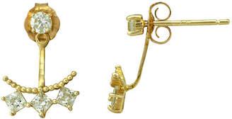 FINE JEWELRY Petite Lux Cubic Zirconia 10K Yellow Gold Stud Jacket Earrings