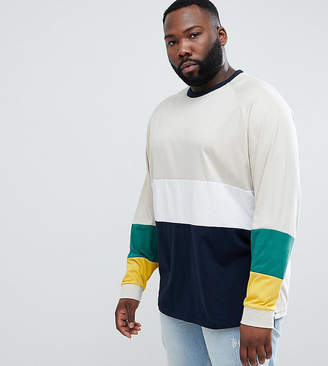 Asos DESIGN Plus oversized long sleeve t-shirt with bright color block in red