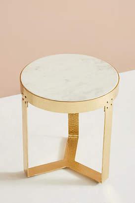 Anthropologie White Marble Lirit Side Table
