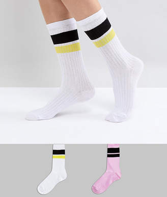 Asos 2 Pack Stripe Calf Length Sock