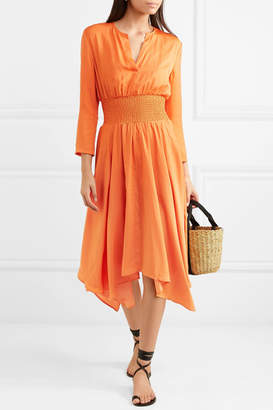 Maje Shirred Voile Midi Dress - Orange