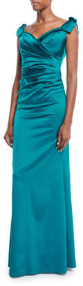 Rickie Freeman For Teri Jon Sweetheart-Neck Shoulder-Ties Draped Stretch-Satin Evening Gown