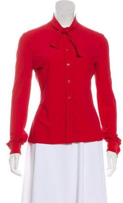 Miu Miu Bow-Accented Long Sleeve Button-Up Top