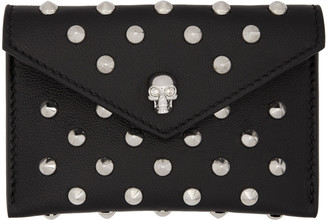 Alexander McQueen Black Skull Studded Envelope Card Holder $245 thestylecure.com