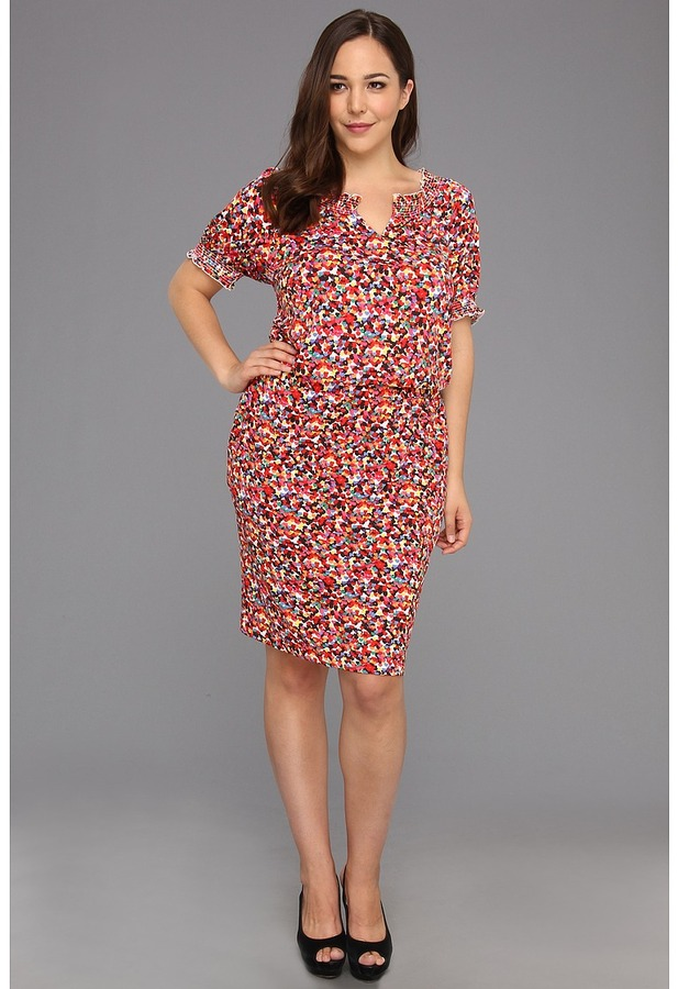 Christin Michaels Plus Size Candia Dress (Red/Multi) - Apparel