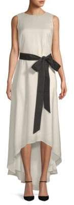 Brunello Cucinelli Pinstripe Hi-Lo Silk Dress