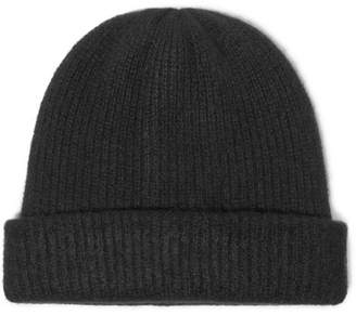 The Elder Statesman Watchman Ribbed Cashmere Beanie - Black