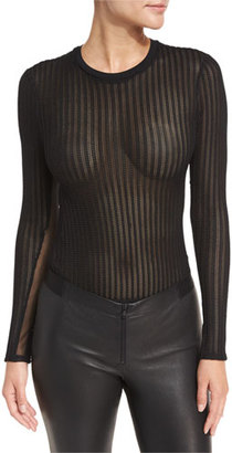 cinq a sept Paige Crewneck Long-Sleeve Sheer Mesh Bodysuit $225 thestylecure.com