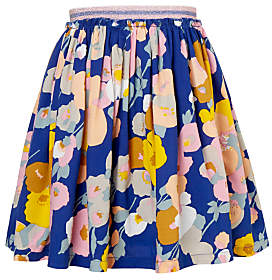 John Lewis Girls' Large Floral Print Skirt, Blue