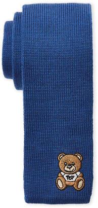 Moschino Blue Knit Bear Tie