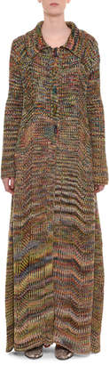 Missoni Multicolor Button-Front Long Wool Coat