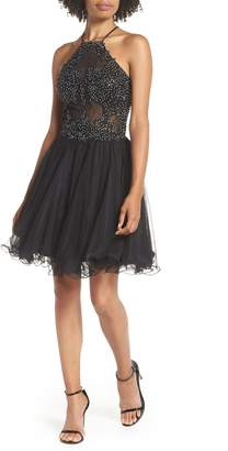 Blondie Nites Halter Neck Applique Mesh Party Dress