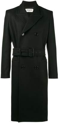 Saint Laurent Black double breasted overcoat