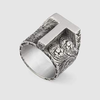 "Gucci T"" letter ring in silver"