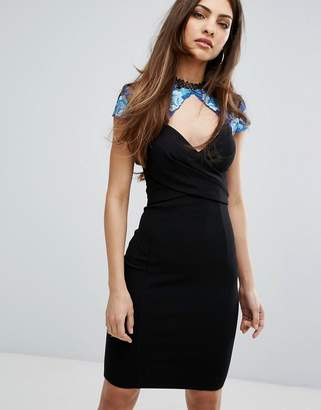 Lipsy Embroidered Cap Sleeve Pencil Dress